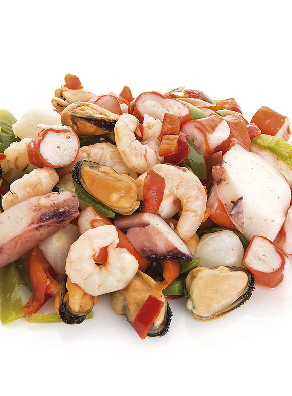 cocktail di frutti di mare con verdure cotto